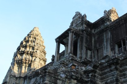 Looking up at Angkor Wat, Cambodia.